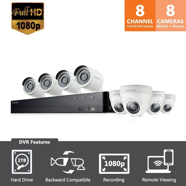 SDH-C74083H - Samsung Wisenet 8 Channel 1080p HD 2TB Security System with 4 Bullet Cameras & 4 Dome Cameras