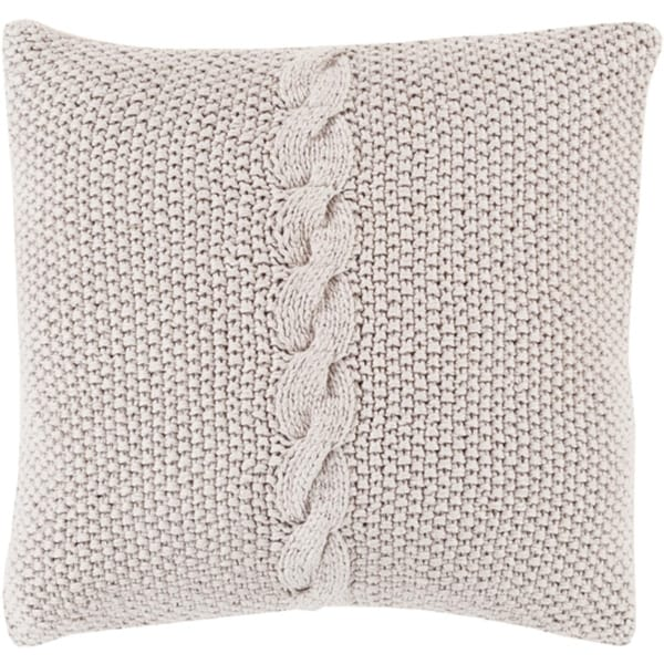 "22"" Stone Gray Knitted Decorative Throw Pillow - Down Filler"