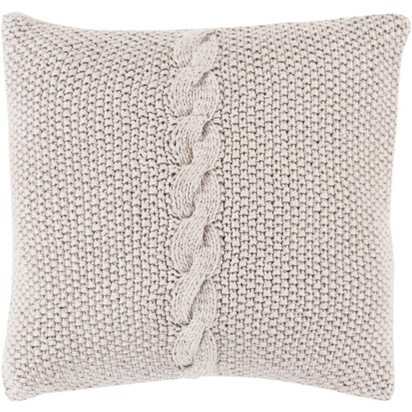 """22"""" Stone Gray Knitted Decorative Throw Pillow"""