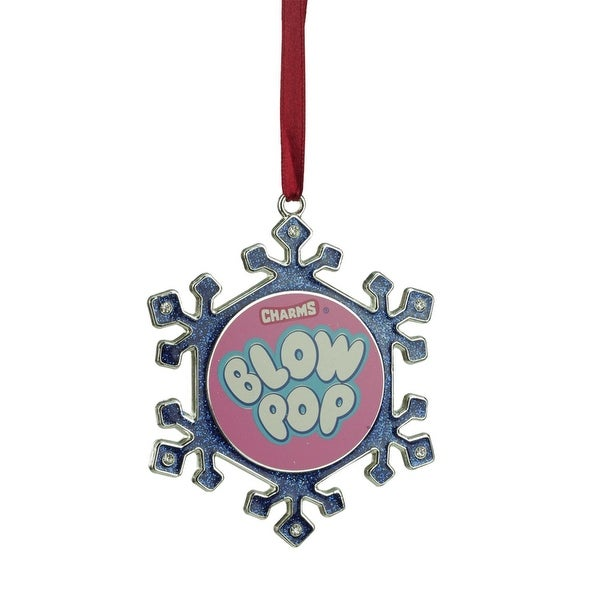"""3.5"""" Silver Plated Snowflake Blow Pop Candy Logo Christmas Ornament with European Crystals - PInk"""