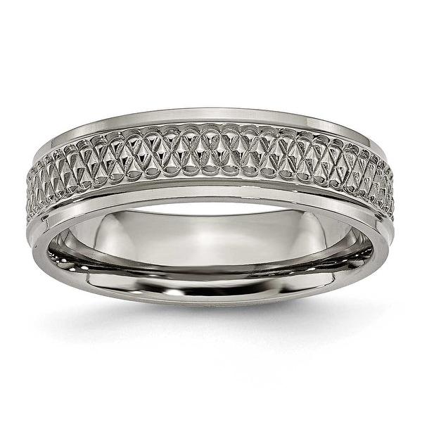 Chisel Ridged Edge Polished Titanium Ring (6.0 mm)