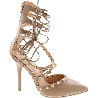 Wild Diva Women's Adora 126 Pointy Toe Lace Up Ankle Tie Studded High Heel - Taupe