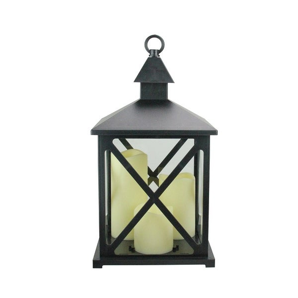 "12.5"" Black Candle Lantern with 3 Flameless LED Candle - N/A"