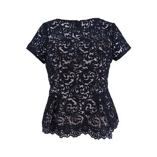 Alex Evenings Women's Petite Embroiderd Peplum Blouse - Black/nude