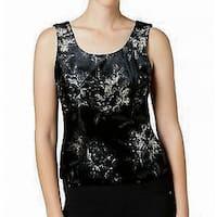Kasper Deep Black Womens Size 14 Velvet Floral-Print Tank Top