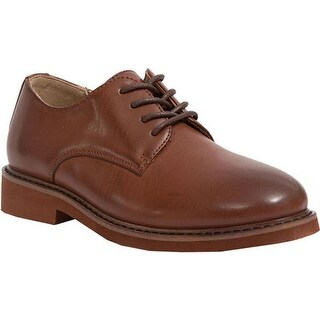 Deer Stags Boys' Denny Plain Toe Oxford Dark Luggage Brown Simulated Leather
