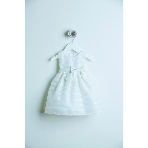 Sweet Kids Off White Striped Organza Flower Girl Baby Girl Dress S-XL