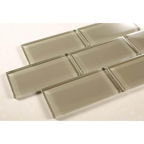 """TileGen. 3"""" x 6"""" Glass Subway Tile in Light Brown Wall Tile (80 tiles/9.2sqft.)"""