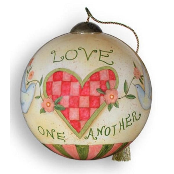 """Ne'Qwa """"Love One Another"""" Hand-Painted Blown Glass Ball Christmas Ornament #771 - WHITE"""