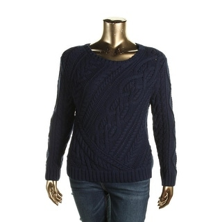 Polo Ralph Lauren Womens Pullover Sweater Cable Knit Ribbed Trim