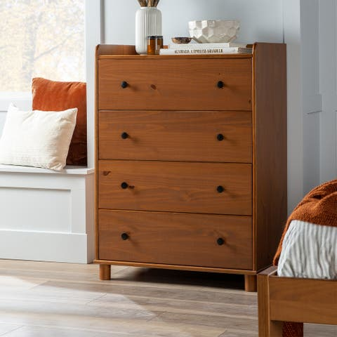 Porch & Den Solid Pine Tray Top 4-Drawer Chest