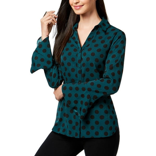 ed70f85d Shop NY Collection Womens Button-Down Top Bell Sleeves Polka Dot - Free  Shipping On Orders Over $45 - Overstock - 26398804