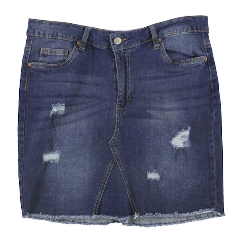 Attitude Unknown Womens Destructed Denim Skirt, Blue, X-Large