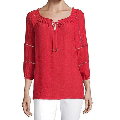 AGB Womens Top Red Size Medium M 3/4 Sleeve Split Tie-Neck Solid
