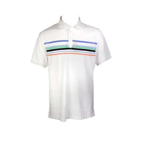 Club Room White Short-Sleeve Cascade Stripe Polo Shirt L