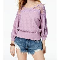 Free People Purple Women's Size Small S Lace Trim Peasant Blouse
