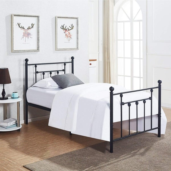 VECELO Bed Frames Twin Size Victorian Metal Platform Bed,Box Spring  Replacement With Headboard Victorian