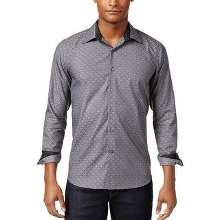 Tallia Orange Slim Fit Prism Geometric Long Sleeve Shirt Charcoal Large L 16.5