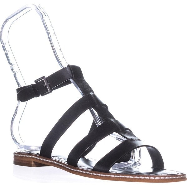 MICHAEL Michael Kors Fallon Flat Sandal Gladiator Sandals, Black/Optic White