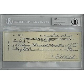 CTBL-B18106 Babe Ruth Signed 1937 Chemical Bank & Trust Company Ban