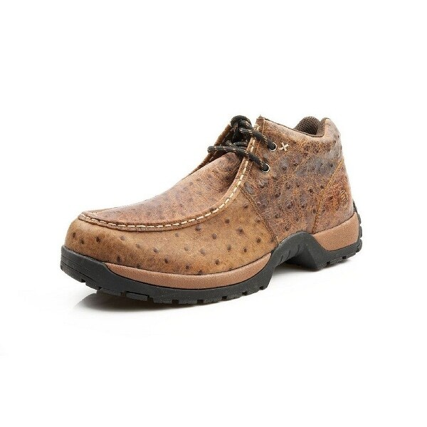 Roper Western Shoes Mens Ostrich Lace Up Brown