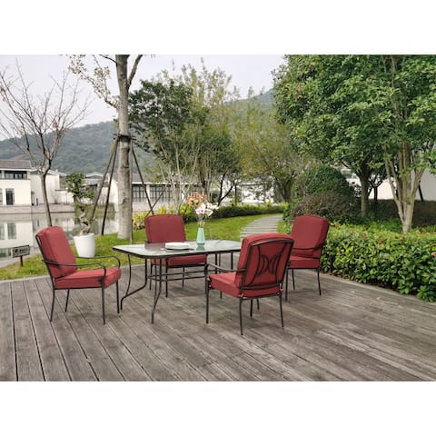 Augusta 5 Piece Outdoor Patio Dining Set with Rectangular Table