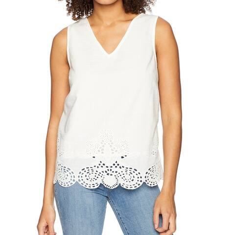 Catherine Malandrino Women's Top White Ivory Size Small S Embroidered