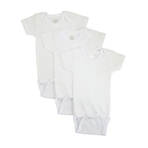Bambini Baby Rib Knit White Cotton Short Sleeve bodysuit 3-Pack