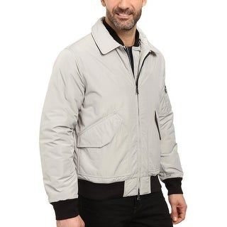 Nautica Mens Military Bomber Jacket Large L Windbreaker Seashore Grey
