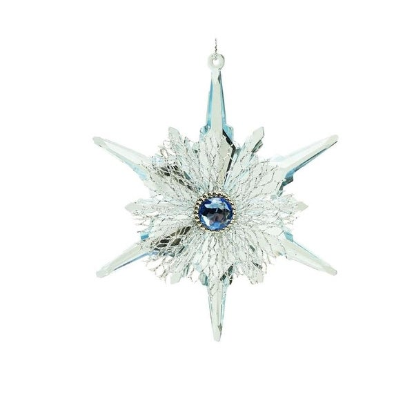 """5"""" Winter Light Blue and Silver Snowflake Gem Accented Christmas Ornament"""