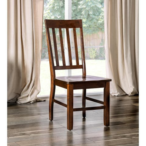 Furniture of America Yizi Country Oak Slat Back Dining Chairs (Set of 2)