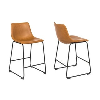 """Link to Milan 25"""" Vintage Faux leather Bar Stool (Set of 2) Similar Items in Dining Room & Bar Furniture"""