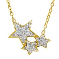 Crystaluxe Shooting Star Necklace with Swarovski Crystals in 18K Gold-Plated Sterling Silver