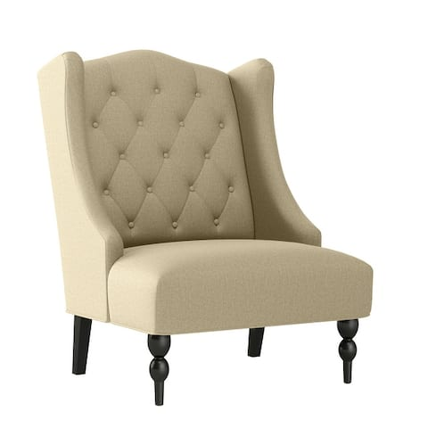 Gracewood Hollow Teluride Button Tufted Wingback Arm Chair
