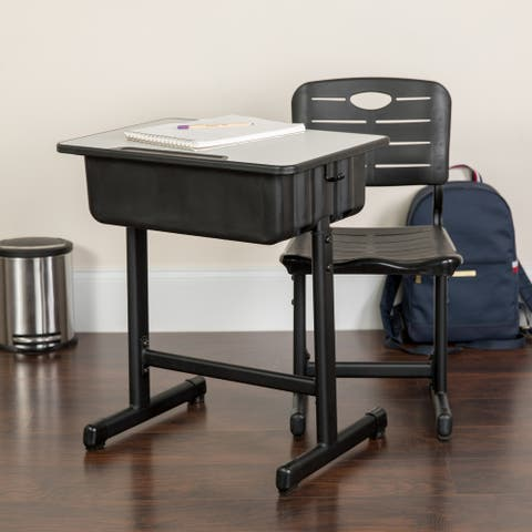 "Pedestal Frame Adjustable Height Student Desk and Chair - 23.63""W x 17.75""D x 28.25"" - 31.50""H"