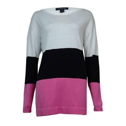 August Silk Women's Colorblocked Cotton Blend Sweater - White/Black/Pink
