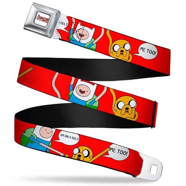 Adventure Time Logo White Full Color Finn Jake I'M On A Belt Me Too! Red Seatbelt Belt