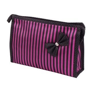 Women Polyester Stripe Pattern Zipper Closure Mirror Cosmetic Bag Purple Black