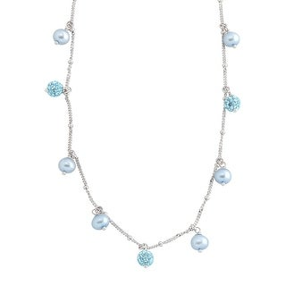 Crystaluxe Girl's Light Blue Freshwater Pearl Necklace with Blue Swarovski elements Crystals in Sterling Silv