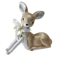 "8"" Gilded White Christmas Glitter Sitting Deer Christmas Decoration"