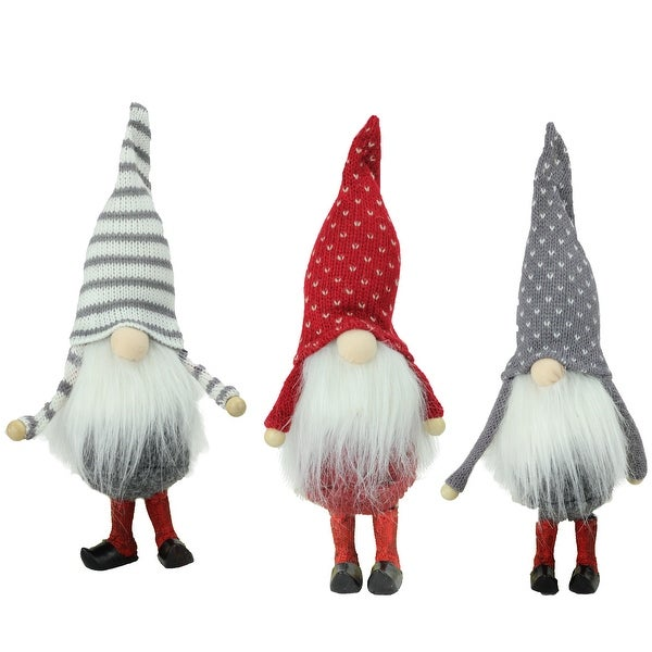 Set of 3 Red, White, and Gray Santa Gnome Christmas Ornaments 10""