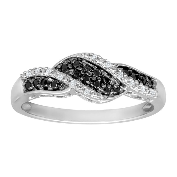 1/5 ct Black and White Diamond Ring in 10K White Gold