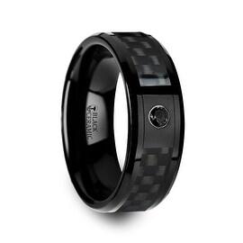 ABERDEEN Black Ceramic Ring with Black Diamond Wedding Band and Black Carbon Fiber Inlay 8mm