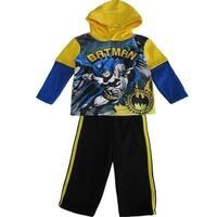 DC Comics Little Boys Yellow Black Batman Hooded Top 2 Pc Pant Set