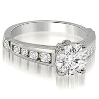 1.40 cttw. 14K White Gold Antique Cathedral Round Cut Diamond Engagement Ring