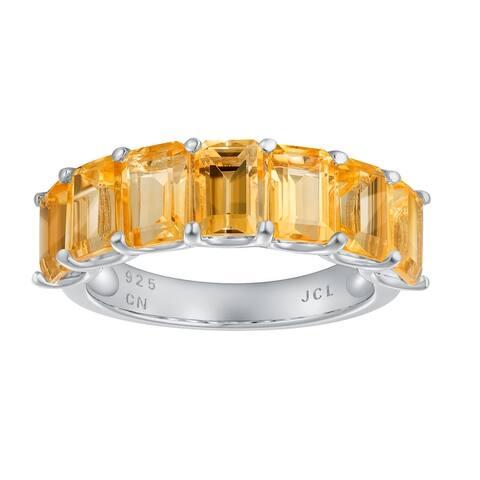 7-Stone Emerald-Cut Gemstone Wedding Band Ring, Sterling Silver