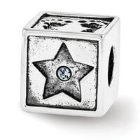 Sterling Silver Reflections Swarovski Elements Baby Block Bead (4mm Diameter Hole)