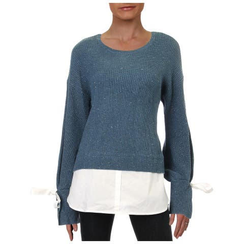 Design History Womens Sweater Marled Layered - Vintage Denim