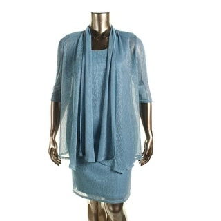 R&M Richards Womens Petites Crinkled Metallic Dress With Jacket - 6P