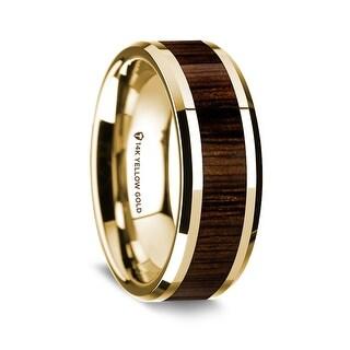 14K Yellow Gold Polished Beveled Edges Wedding Ring With Black Walnut Wood Inlay 8 Mm